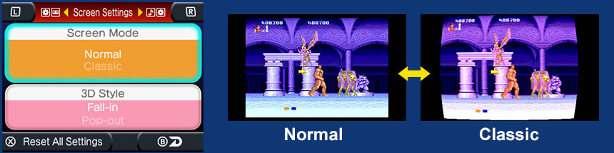 Altered Beast Screen Settings