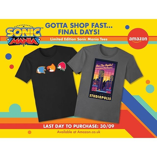 Get your gear on! It's the last day to purchase these Limited Edition Sonic Mania Tees from Amazon.co.uk #sonic #sonicmania #videogames #gamerlife #sega