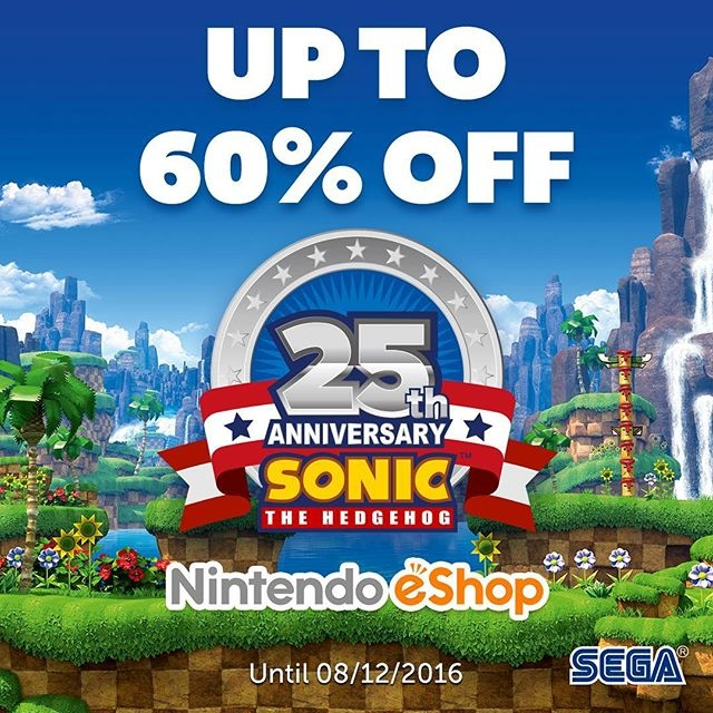 To celebrate Sonic's 25th Anniversary get up-to 60% off select games on the #Nintendo #eShop until 08/12! Link in bio! #sonic #sega #videogames
